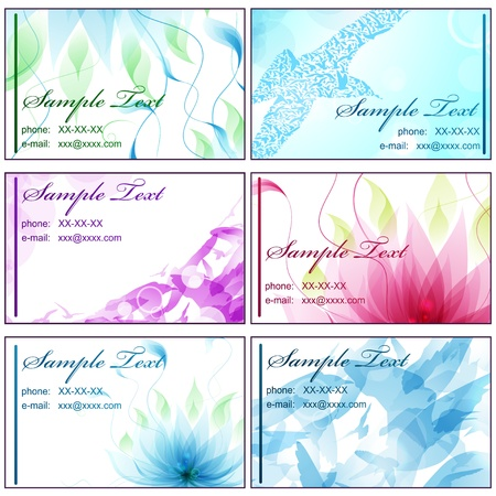 Set of horizontal business cards with light abstract backgrounds