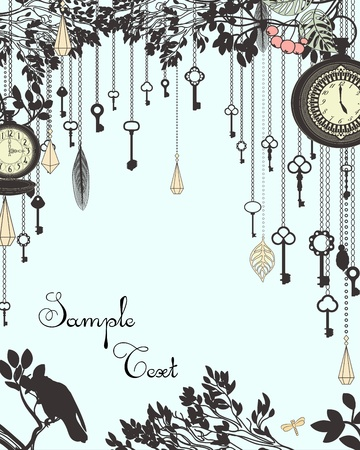 Alice: Clock and keys vintage vertical background