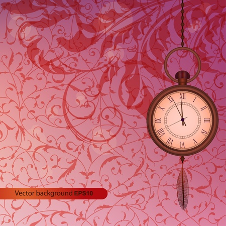 Abstract wallpaper with pink floral branches and pocket watch Vector