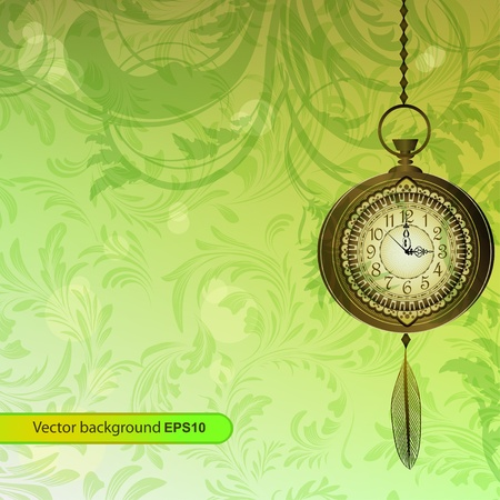 Abstract wallpaper with green floral branches and pocket watch Vector