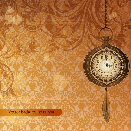 wall watch: Abstract wallpaper with bronze floral branches and pocket watch