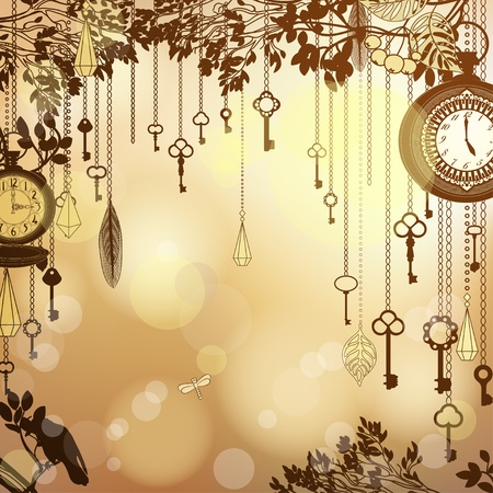 light chains: Antique golden background with clocks and keys Illustration