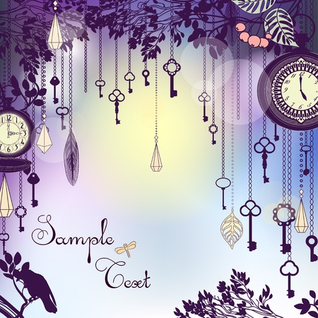 Vintage background with with keys and clocks in dusk