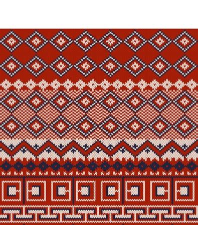 fair isle: Fondo maglia in stile Fair Isle in tre colori Vettoriali