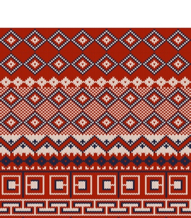 jacquard: Knitted background in Fair Isle style in three colors Illustration