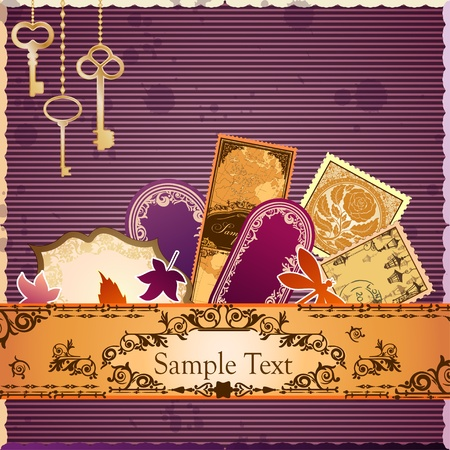 classic art: scrapbooking luxury card with marks and stickers  Every object can be moved and used separately