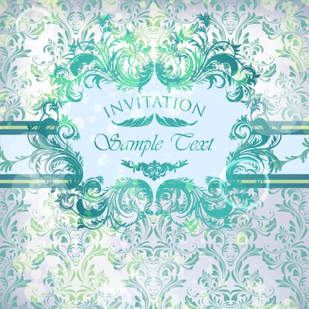 damask background with floral calligraphic frame Vector