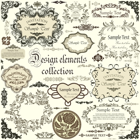 calligraphic design:  set of calligraphic design elements and floral frames Illustration