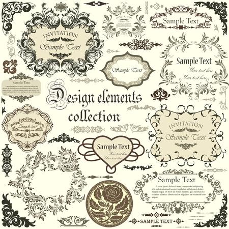 veters: set van kalligrafische ontwerpelementen en bloemenframes Stock Illustratie