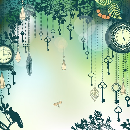 Vintage green background with with keys and clocks photo