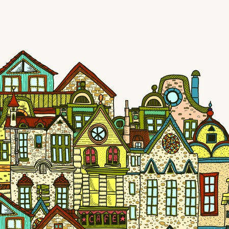 Hand-drawn old town background Vector