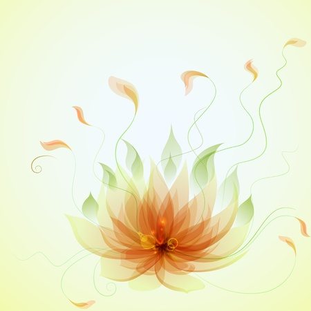 Abstract vector yellow lotus flower Stock Vector - 14885970