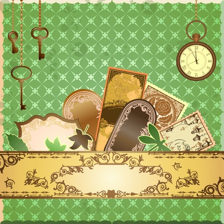 Vector scrapbooking luxury card with marks and stickers  Every object can be moved and used separately  Vector