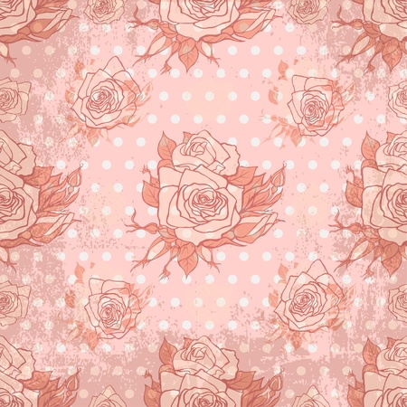 Vector vintage wallpaper with seamless rose pattern