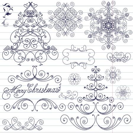 christmastide: Set of Christmas doodles