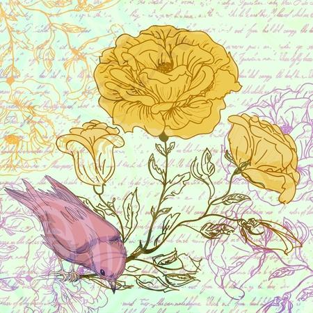 장미와 조류 지저분한 복고풍 배경