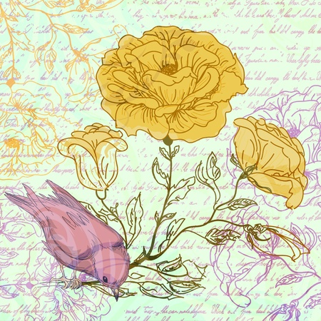 Grungy retro background with roses and bird