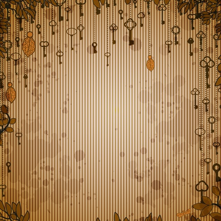 Abstract vintage background with antique keys hanging on tree Vector