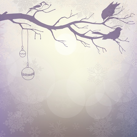 Light winter background with silhouette of branch with birds Vector