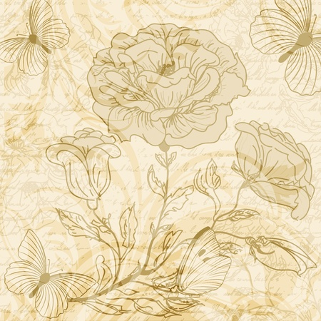 handwriting: Grungy retro background with roses and butterflies