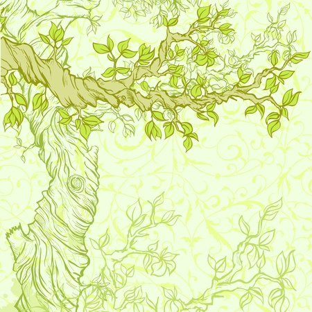 romantic picture: Summer or spring grunge background with tree Illustration