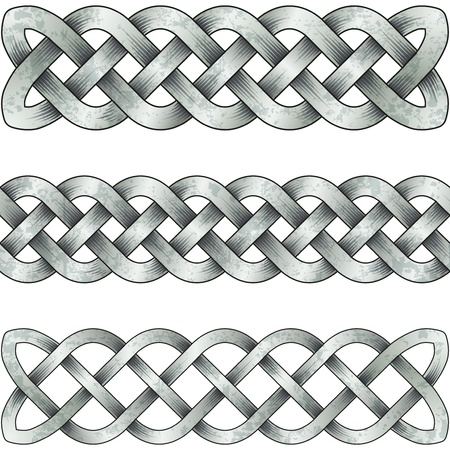 braid: Set of silver celtic braids