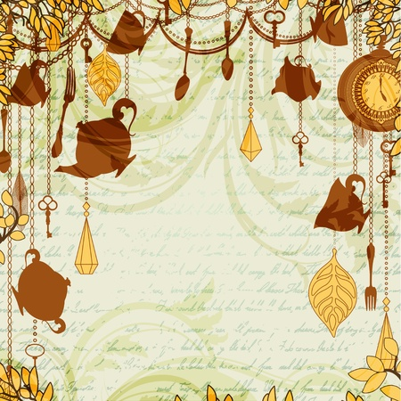 autumn grunge: Antique background with tea party theme