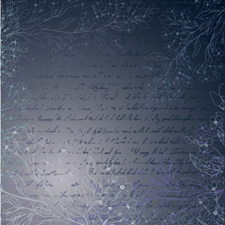 forget me not: Blue grungy background with letter and handdrawn flowers