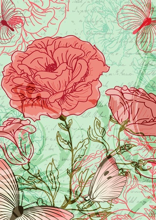 vertical garden: Grungy retro background with roses and butterflies