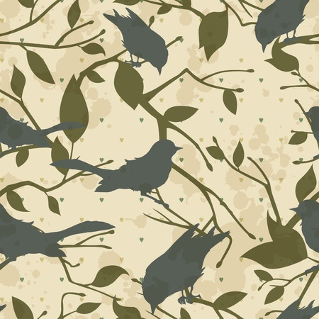 Seamless grungy vector pattern with birds and tree branches Vector