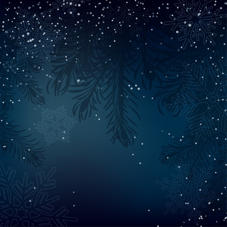 deep blue: Night Christmas background with whirling snow and fir-tree Illustration
