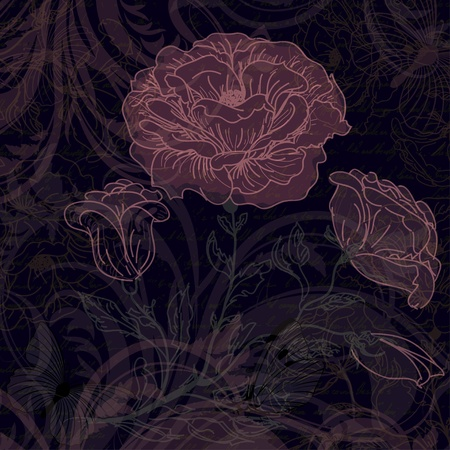 Grungy dark retro background with roses Stock Vector - 17883820