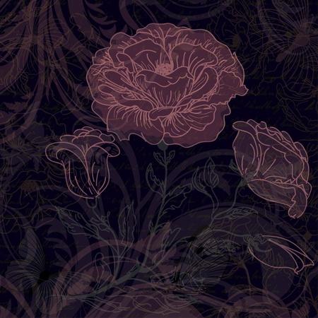 english rose: Grungy dark retro background with roses
