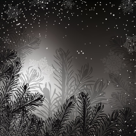 Black and white Christmas background Stock Vector - 17883822
