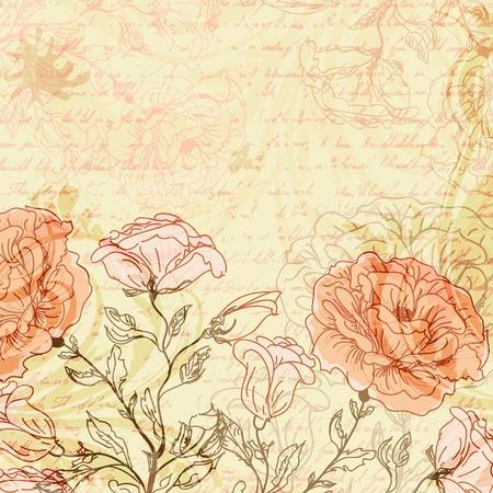 Grungy retro achtergrond met rozen Vector Illustratie