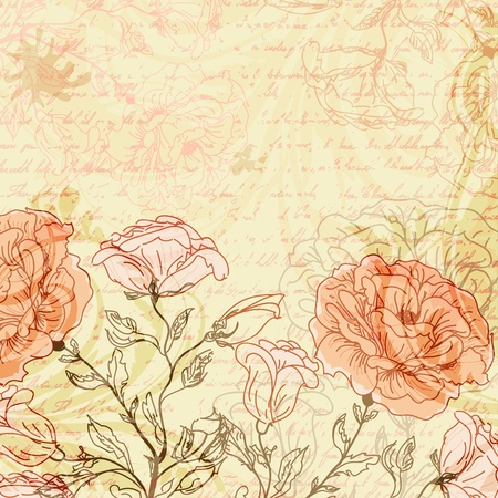 postcard: Grungy retro background with roses Illustration