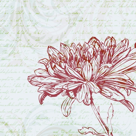 Grungy retro background with chrysanthemum flower Stock Vector - 17959211