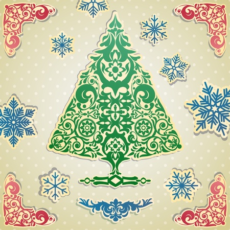 fur tree ornament: Scrapbooking card with stylized vector Christmas tree