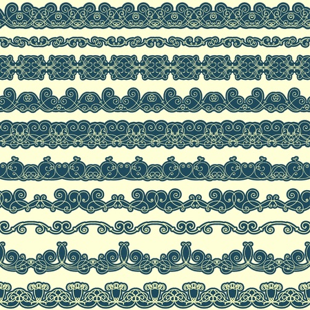 lace edges: Set of seamless borders in retro style Illustration