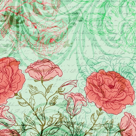 Grungy retro background with roses and butterflies photo
