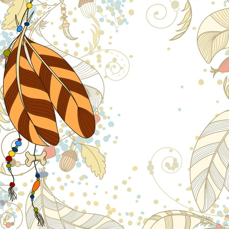 indian summer: Greeting card wit feathers and beads Illustration