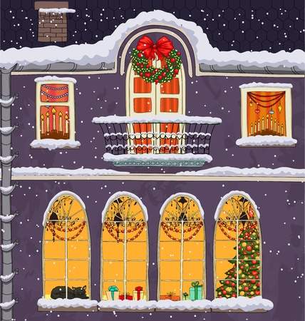 Hand-drawn Christmas background with windows at night