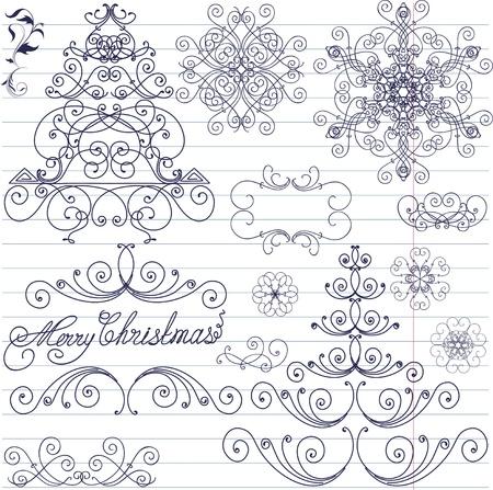 lace border: Set of Christmas doodles