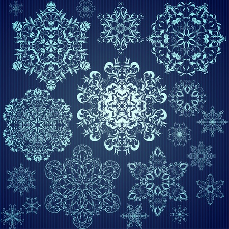 Set of calligraphic snowflakes for Christmas design Vector