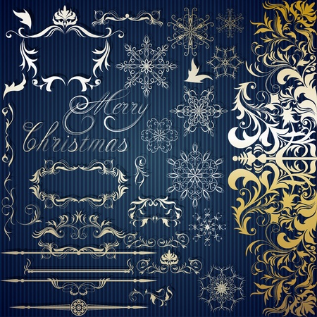 Calligraphic set for Christmas design photo