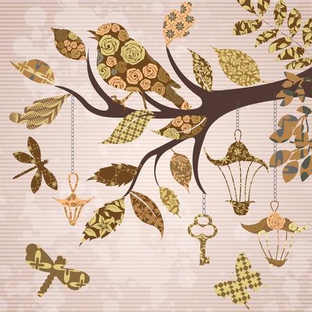 Scrap-booking fondo de rama de árbol