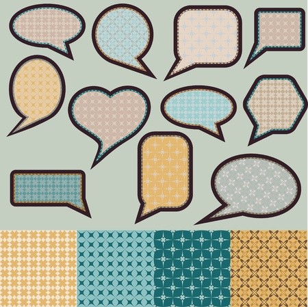 Speech bubbles made of paper with geometric pattern Vector