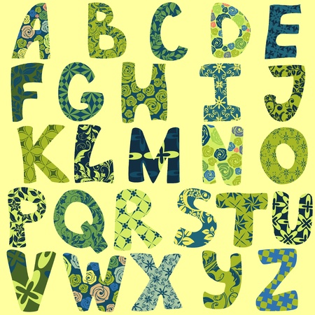 Funny alphabet made of patches for scrapbooking