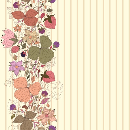 Vector seamless doodle border of flowers and berries Vector