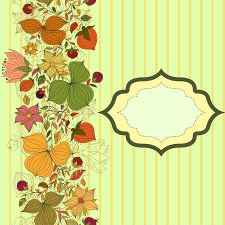 Vector seamless doodle border of flowers and berries with frame Vector